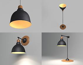 3D model Anthracite Lamps Set