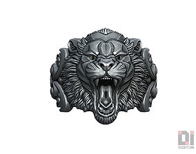 Angry tiger relief ring jewelry 3D print model