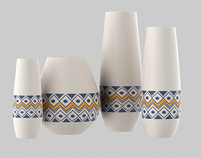 White Vase Set 3D