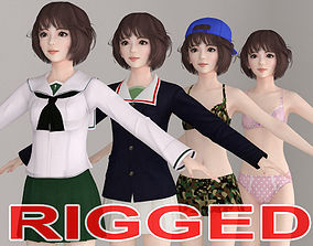 rigged T pose rigged model of Yukari with various outfit