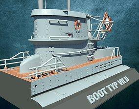 boot 3D print model U-Boot Typ VII Turm