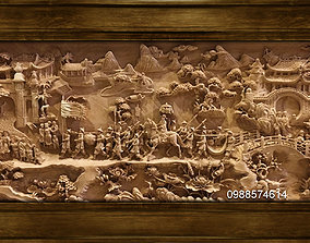 3D printable model Mural landscape wood carving file stl 4