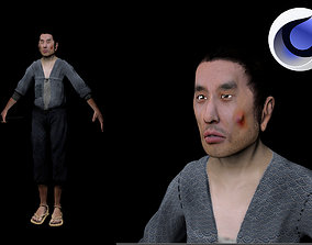 Feudal poor japanese man 3D model