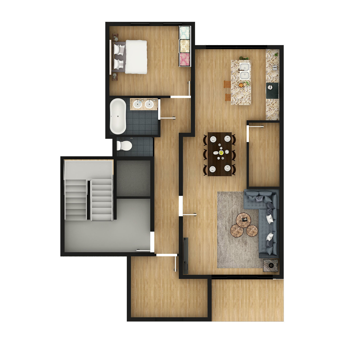 2D Floor Plan Rendering with Custom Texture Furniture in Photoshop