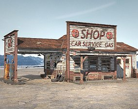 Abandoned Gas station Route 66 3D model interstate