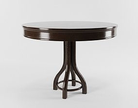 VINTAGE DARK BROWN THONET STYLE TABLE with 2 3D asset 1