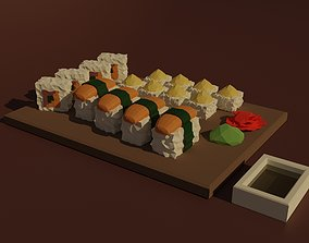 3D model VR / AR ready Set of rolls and sushi