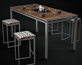 Morrison Table With Chairs And Accessories whiskey 3D