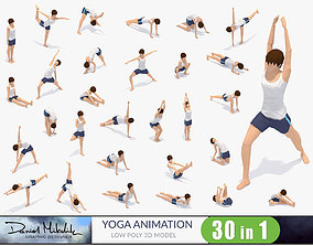 30 Yoga Pose Animations Bundle Woman 3D asset