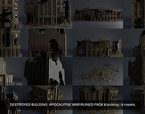 DESTROYED BUILDING APOCALYPSE WAR RUINED PACK 8 3D