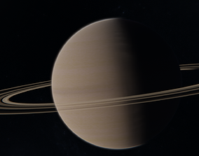 Saturn With Photorealistic Rings and Atmosphere 3D