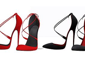 3D model Cross Strappy Pointed Toe Stilettos