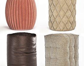 3D poufs leather