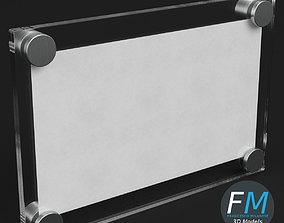 Wall mounted glass plate mockup 3D model