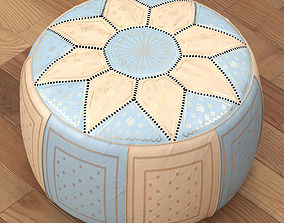 Moroccan Leather Pouffe blue 3D model