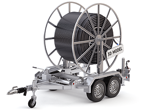Broadband Cable Drum With Trailer 3D model cable