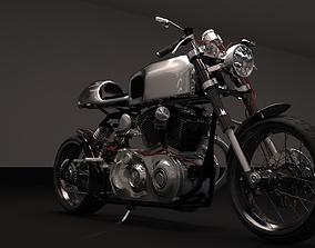 3D Cafer racer chrome motocycle
