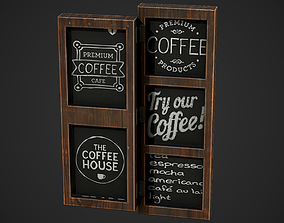 3D model Wall Cafe Board 01 Low Poly Mobile Ready