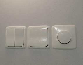 3D model Realistic Wall Light Switch and Dimmer