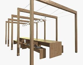 3D pergola with wooden table bench lights