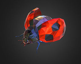 3D model Bug Ladybug Red Low Polygon Art Insect