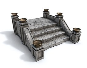 3D asset Stairs with fire