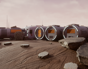 3D asset Space Mars Colony Scene 8K Textures and 2