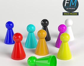 Board game pawns set 3D model