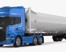 3D Scania Truck with Liquid Natural Gas Trailer