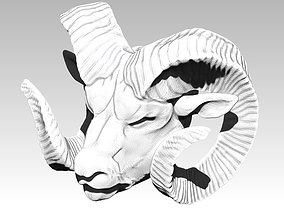 Danger Angry Ram Head Animal Horn Bust 3D printable model