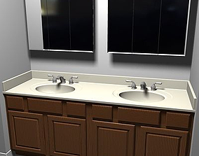 Bathroom Vanity Sink and Light Fixture 3D