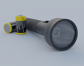 Flashlight with battery 3D model