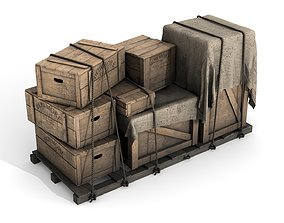 Wooden Boxes with Alcohol 3D model
