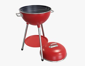 Charcoal kettle grill bbq steel with lid 3D model