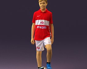 Soccer boy in red form with ball 0898 3D model