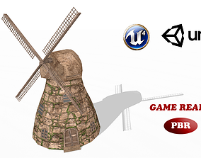 3D asset game-ready Medieval Windmill