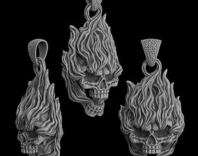 jewellery 3D printable model Pendant Skull on fire