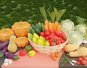 3D model Low poly set of vegetables