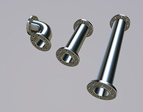 3D model Flanged pipes and flanged elbow for kitbashing
