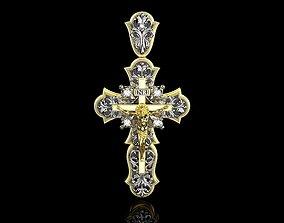 3D printable model YELLOW GOLD FANCY DIAMOND JESUS CROSS