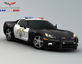 3D asset Chevrolet Corvette C6 Police Car