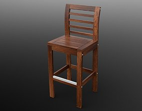 Bar stool with backrest 3D model