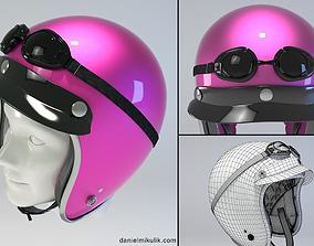 PINK Retro Motorcycle Helmet 3D