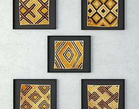 Kuba Shoowa Grass Textile Framed 3D model