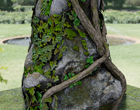 3D asset LOw Poly Mossy Rock Column with Ivy Vines - Game