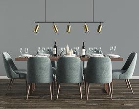 Modern Dinning Set 6 3D model
