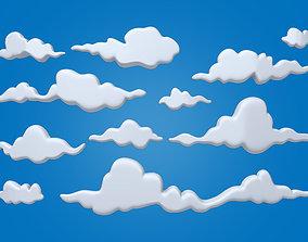 science Clouds Cartoon 03 3D model