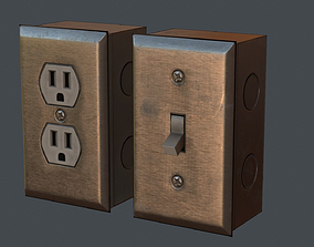 3D asset Light Switch and Wall Plug - PBR Game Ready