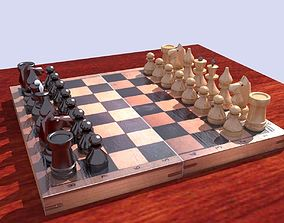Classic Wooden Chess 3D model