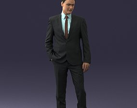 Young man suit with brown tie 0635 3D Print